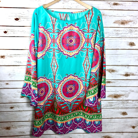 Auditions Dresses & Skirts - Turquoise pink medallion print Auditions size 2XL